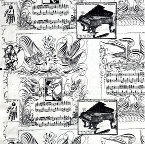 Picture of Angel Band Ephemera Piano Music Make a Joyful Noise Cotton Fabric