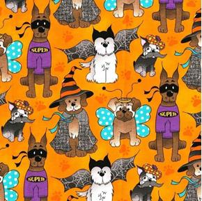 Picture of Halloween Dogs Dressed in Costumes Orange Cotton Fabric