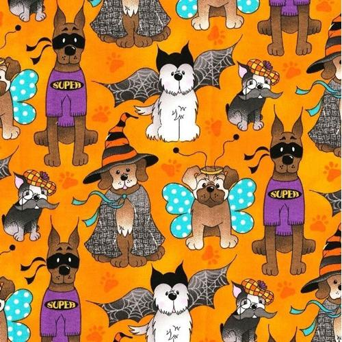 Halloween Dogs Dressed in Costumes Orange Cotton Fabric