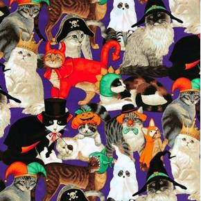 Halloween Cats Dressed in Costumes Orange Cotton Fabric