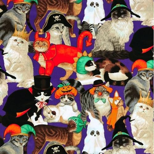 Picture of Halloween Cats Dressed in Costumes Orange Cotton Fabric