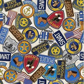 Picture of Protect and Serve Police Badges Trooper Patch Beige Cotton Fabric