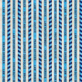 Protect and Serve Police Stripe Law Enforcement Blue Cotton Fabric