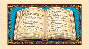 The Ten Commandments Religious Scripture 24x44 Cotton Fabric Panel