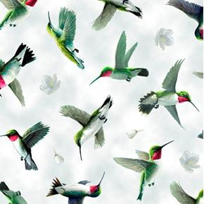 Picture of Hummingbirds in Flight Birds and Flowers Light Gray Cotton Fabric