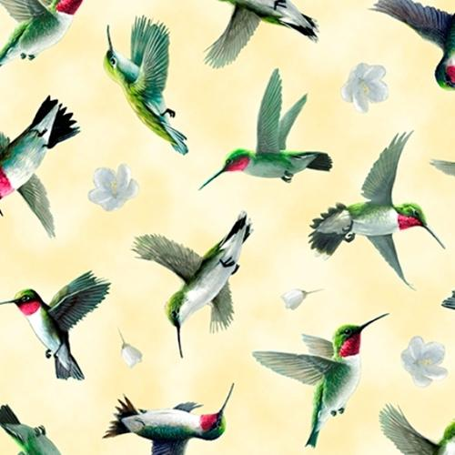 Picture of Hummingbirds in Flight Birds and Flowers Yellow Cotton Fabric