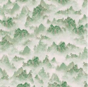 Imperial Panda Tonal Mountains Misty Mountain Green Cotton Fabric