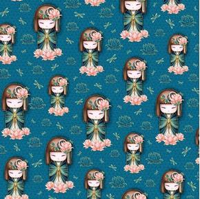 Yuna Japanese Kimidolls Yuna Meaning Calm Dark Teal Cotton Fabric