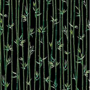 Imperial Panda Bamboo Stripe Bamboo Reeds Black Cotton Fabric