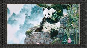 Imperial Panda Eating Bamboo 24x44 Cotton Fabric Panel