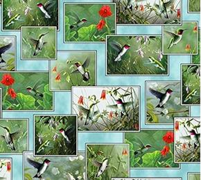 Hummingbirds Vignette Patches Bird Photos Teal Cotton Fabric