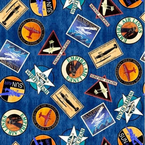 Aviator Logos Plane Travel Patches Royal Blue Cotton Fabric
