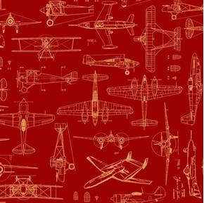 Aviator Plane Blueprints Ketchup Red Cotton Fabric