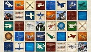 Aviator Plane Patches Natural 24x44 Cotton Fabric Panel