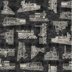 Full Steam Ahead Vintage Train Toile Railroad Black Cotton Fabric