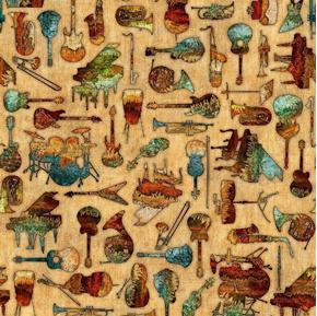 Encore Music Textured Musical Instruments Tan Cotton Fabric