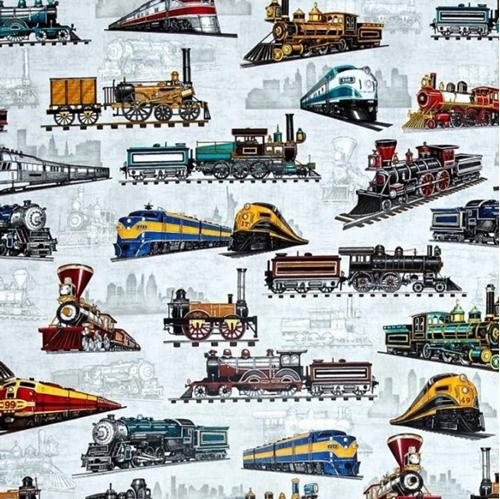Full Steam Ahead Vintage and Modern Trains Allover Gray Cotton Fabric