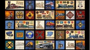 Full Steam Ahead Vintage Train Motif Patch 24x44 Cotton Fabric Panel