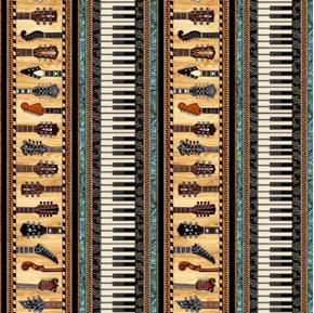 Picture of Encore Music Piano Keys and Guitar Neck Stripe Musical Cotton Fabric