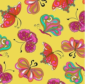 Picture of Paloma Whimsical Pucci Butterflies Colorful Yellow Green Cotton Fabric