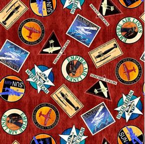 Aviator Logos Plane Travel Patches Brick Red Cotton Fabric