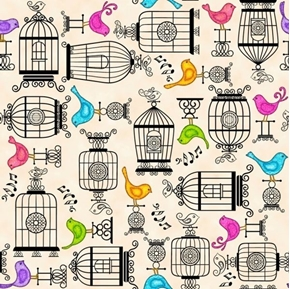 A Tail of Two Kitties Colorful Birds Birdcages Cream Cotton Fabric