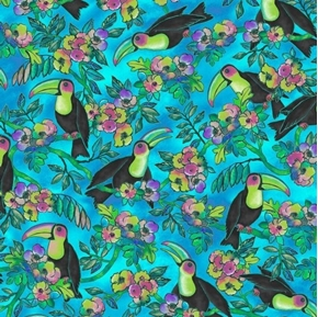 Toucan Do It Toucans and Floral Tropical Birds Blue Cotton Fabric