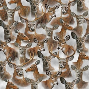 In the Woods Packed Deer Whitetail Doe Buck Gray Cotton Fabric