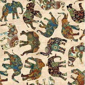 Picture of Caravan Paisley Elephants African Elephant Beige Cotton Fabric
