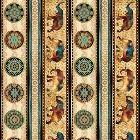 Caravan African Elephant Decorative Stripe Gold Cotton Fabric