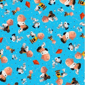 Good Friends Peanuts Charlie Brown and Snoopy Toss Blue Cotton Fabric