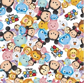 Disney Tsum Tsum Packed with Logo Character Faces White Cotton Fabric
