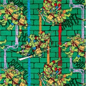 TMNT Teenage Mutant Ninja Turtle Sewer Pipe Stripe Cotton Fabric
