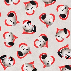Picture of Good Friends Peanuts Snoopy in Hearts Red on Gray Cotton Fabric