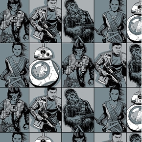 Star Wars The Force Awakens Heroes in Squares Cotton Fabric
