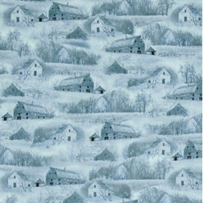 Wild Pheasants Barns and Houses in the Country Blue Cotton Fabric
