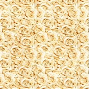 I Do Champagne Roses Wedding Bouquet Cotton Fabric
