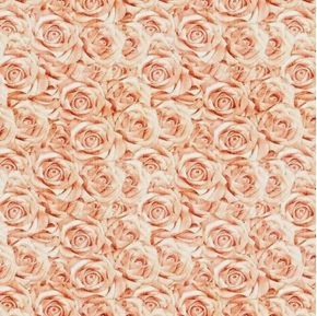 I Do Peach Roses Wedding Bouquet Cotton Fabric