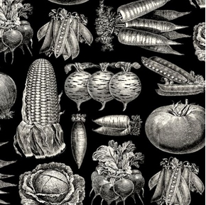 Farm to Table Vegetable Etchings Black and White Cotton Fabric