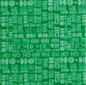 Santa Coming to Town Ho Ho Ho Christmas Holiday Green Cotton Fabric