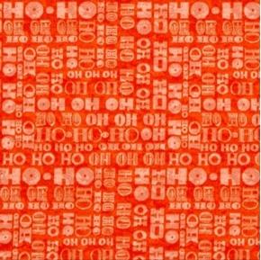 Santa Coming to Town Ho Ho Ho Christmas Holiday Tomato Cotton Fabric