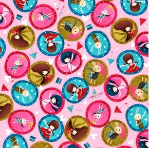 The Gift of Friendship Santoro Girl Medallions Pink Cotton Fabric