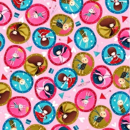 The Gift of Friendship Santoro Girl Medallions Pink Cotton Fabric