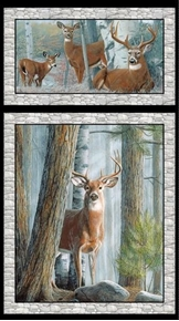 In the Woods Whitetail Deer in the Wild 24x44 Cotton Fabric Panel