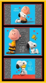 Picture of Good Friends Peanuts Charlie Brown Snoopy 24x44 Cotton Fabric Panel