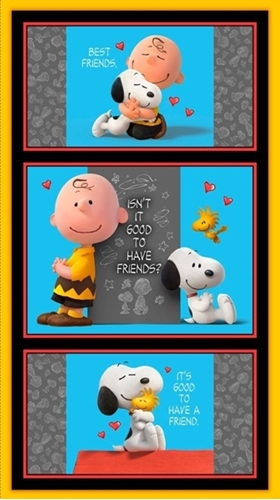 Good Friends Peanuts Charlie Brown Snoopy 24x44 Cotton Fabric Panel