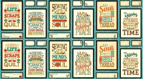 Sewing Mends the Soul Sewing Phrases Patches 24x44 Cotton Fabric Panel