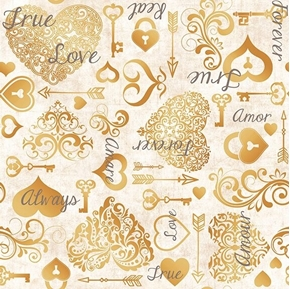 I Do Hearts and Keys Wedding Love Forever Champagne Cotton Fabric