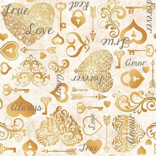 Picture of I Do Hearts and Keys Wedding Love Forever Champagne Cotton Fabric