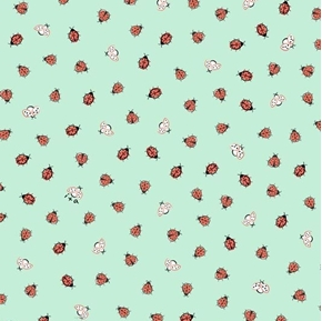 Little Buggers Ladybugs Tiny Bugs on Aqua Cotton Fabric
